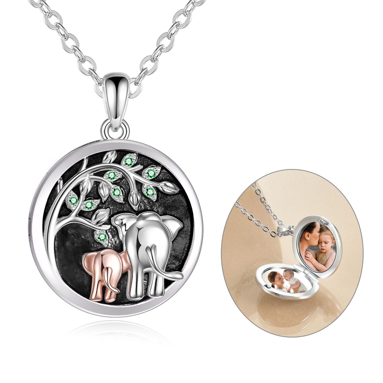 925 sterling silver elephant parent-child series photo necklaces - onlyone