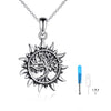 925 Sterling Silver Sunshine Cremation Keepsake Pendant Family Tree of Life Ashes Urn Necklace - onlyone