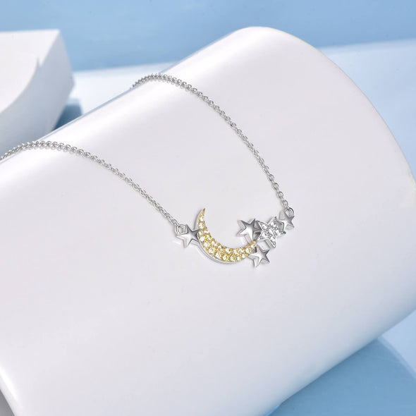 925 Sterling Silver Star Moon Pendant Necklace - onlyone