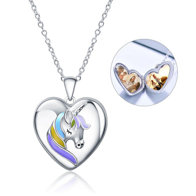 925 Sterling Silver Heart Unicorn Custom Photo Locket Necklace - onlyone