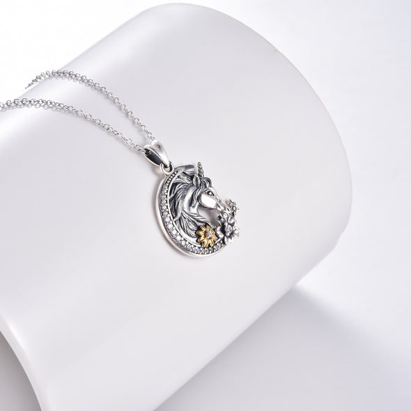 925 Sterling Silver Unicorn Crescent Necklace - onlyone