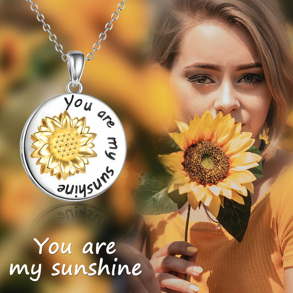 925 Sterling Silver Rotatable Sunflower Necklace - onlyone
