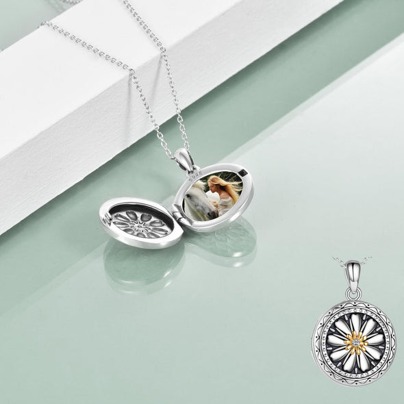 925 Sterling Silver Daisy Open Locket Photo Necklace