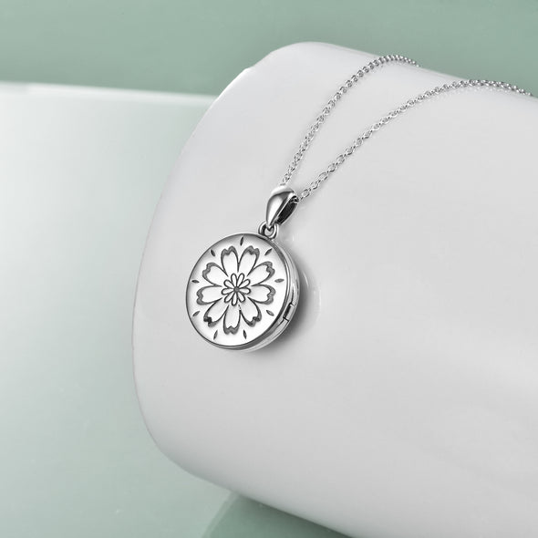 925 Sterling Silver Daisy Open Locket Photo Necklace - onlyone