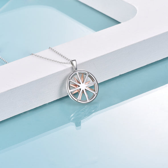 925 Sterling Silver Rotatable Compass Necklace - onlyone