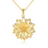 925 Sterling Silver Simple and Classical Gold Sunflower Necklace - onlyone
