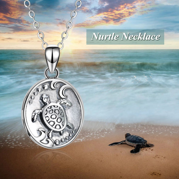 925 Sterling Silver Turtles Customizable Photo Necklaces - onlyone