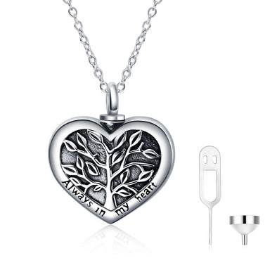 925 Sterling Silver Tree Of Life Heart Shaped Urn Necklace For Ashes Cremation Jewelry for Ashes - onlyone