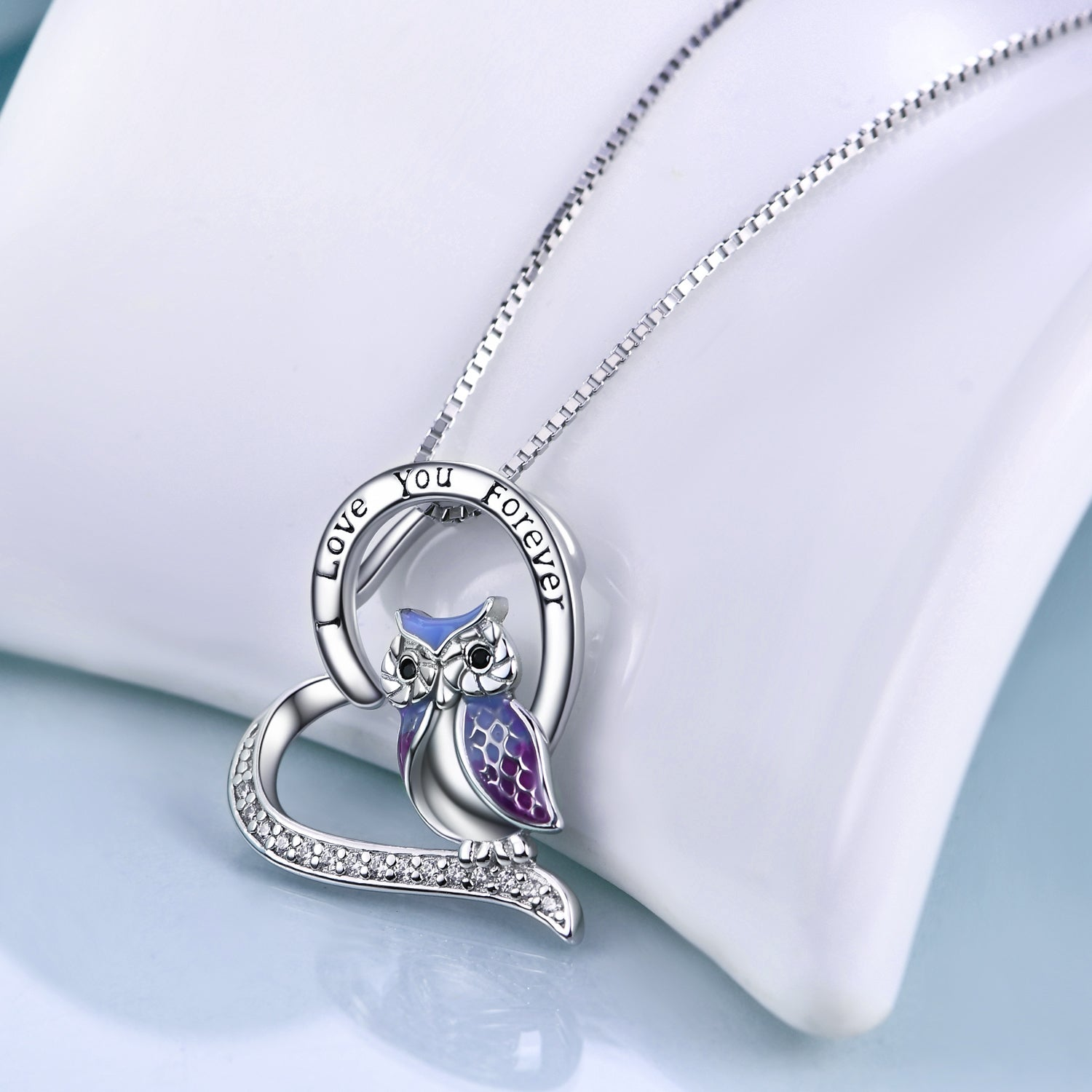 925 Sterling Silver Heart Owl Necklace - onlyone