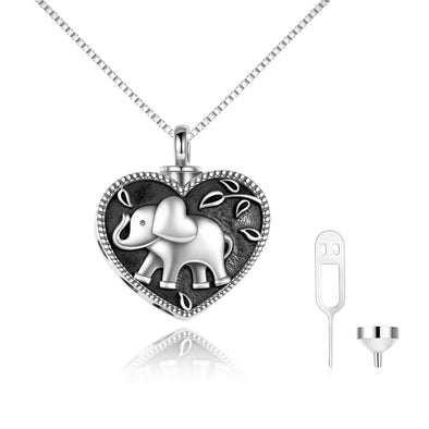 925 sterling silver elephant Urn box necklace Cremation Jewelry for Ashes - onlyone