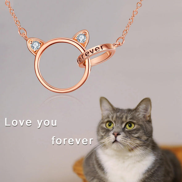 925 Sterling Silver Interlock Cat Circle Necklace - onlyone
