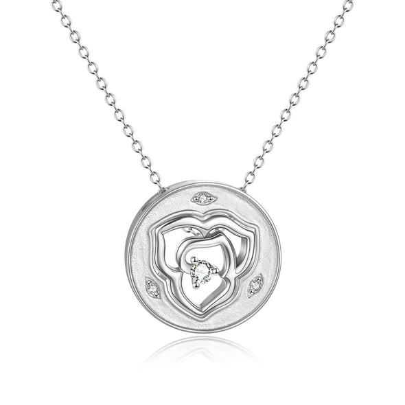925 Sterling Silver Double Layer Rose Flower Necklace - onlyone