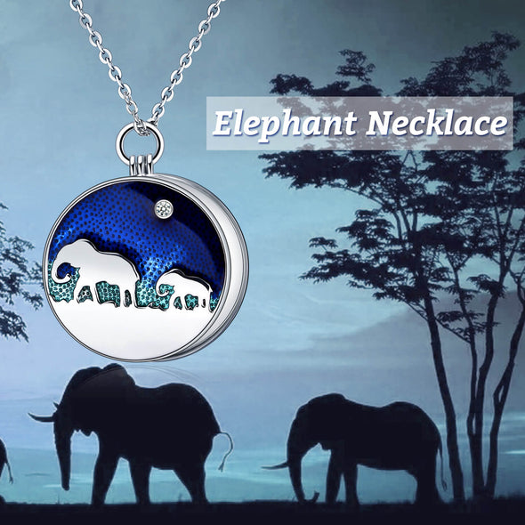 925 Sterling Silver Elephant Photo Locket Necklace - onlyone