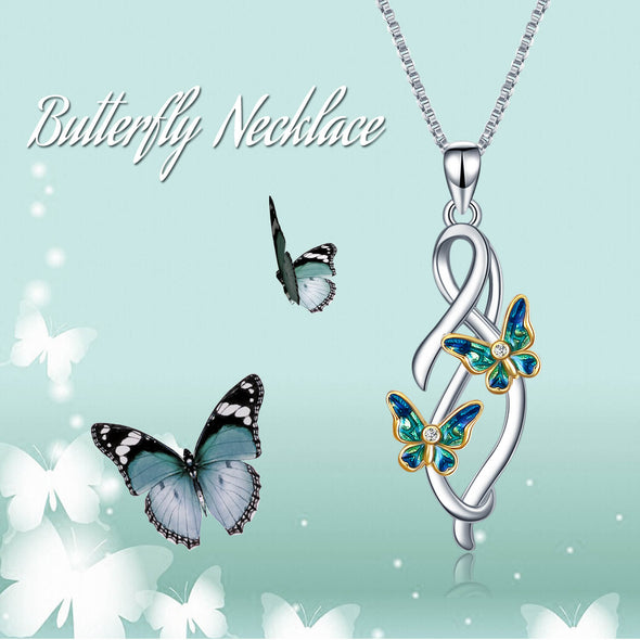 925 Sterling Silver Butterfly Infinity Pendant Necklace - onlyone