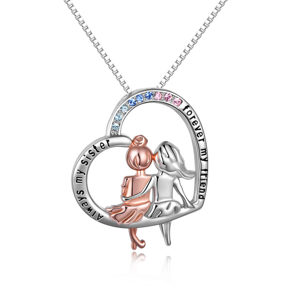 925 Sterling Silver Always My Sister Forever My Friend Heart Pendant Jewelry Birthday Graduation Gift for Women - onlyone