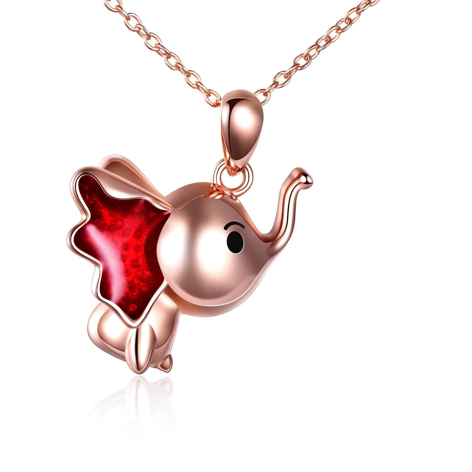 Sterling Silver Cute Elephant Necklace Good Luck Animal Dumbo Pendant Holiday Jewelry Gift for Girls Teens Elephant Lover