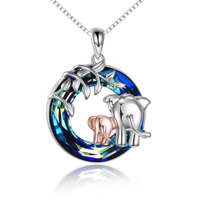 925 Sterling Silver Elephant Mom And Daughter Crystal Pendant Necklace