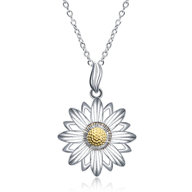 925 Sterling Silver Daisy Flower Pendant Necklace