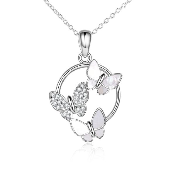 925 Sterling Silver Tropical Soul Butterfly Inlaid White Mother of Pearl Pendant Necklace - onlyone