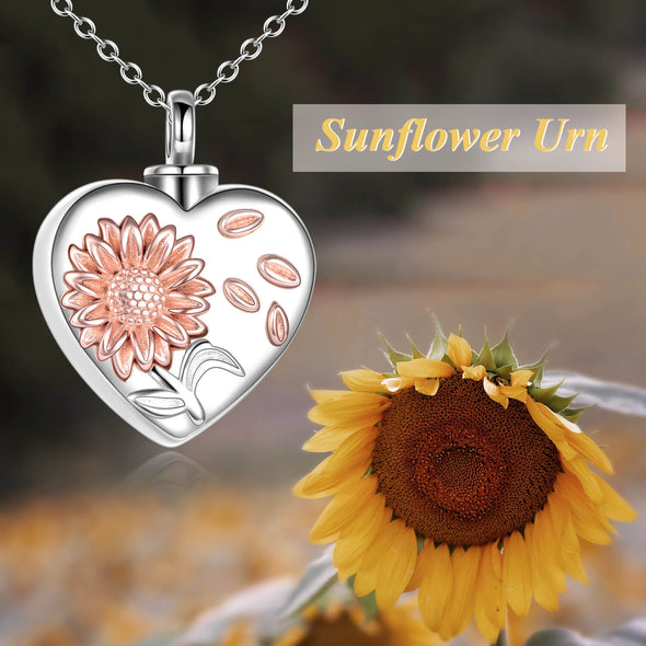 925 Sterling Silver Sunflower Urn Necklace for Ashes Cremation Jewelry - onlyone