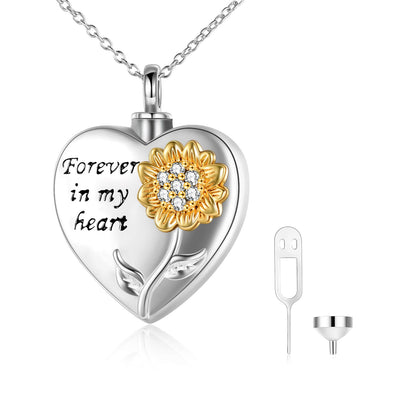925 Sterling Silver Sunflower With Zirconia Urn Necklace for Ashes Cremation Jewelry for Ashes - onlyone
