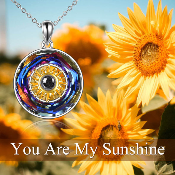 925 Sterling Silver Sunflower Love Project Necklace With Swarovski Crystal