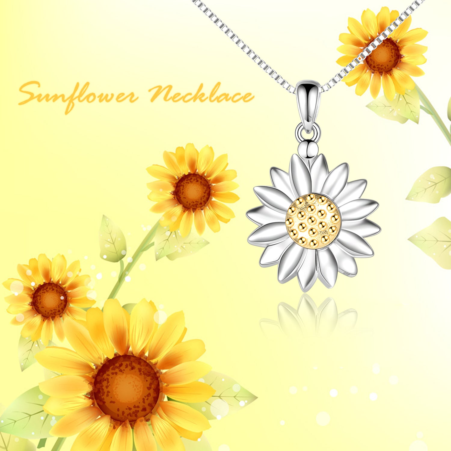 925 Sterling Silver Sunflower Open Locket Photo Pendant Necklace - onlyone