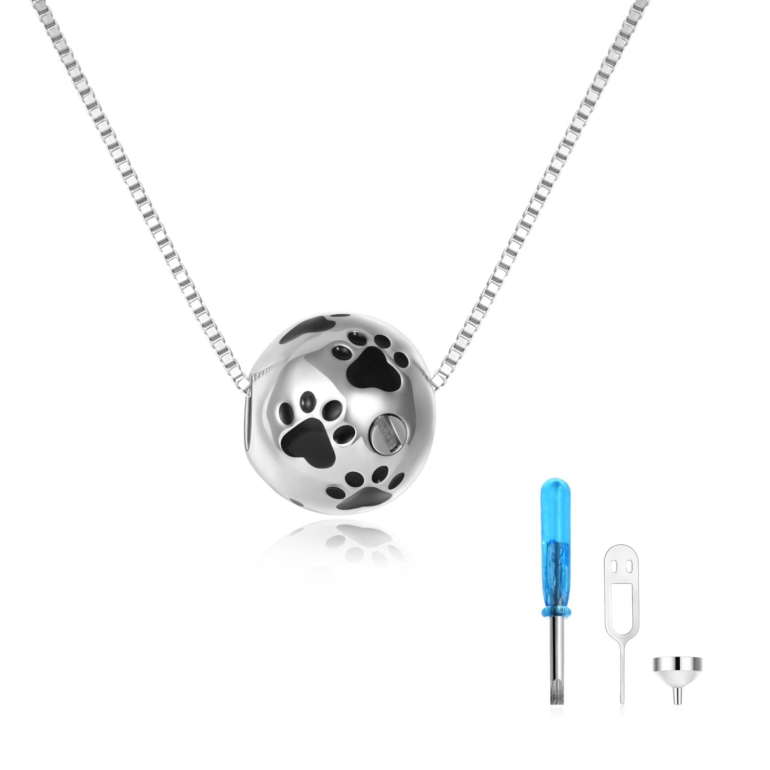 925 sterling silver spherical animal urns necklaces Cremation Jewelry for Ashes - onlyone