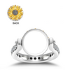 925 Sterling Silver Personalized Sunflower Ring Customized Photo Band Rings, Gift For Her