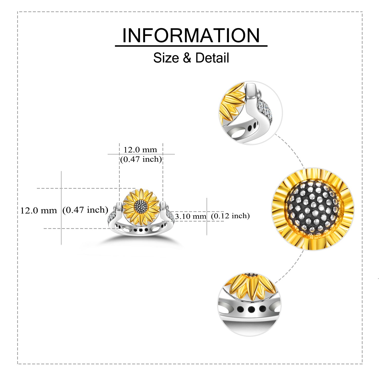 925 Sterling Silver Personalized Sunflower Ring Customized Photo Band Rings - onlyone