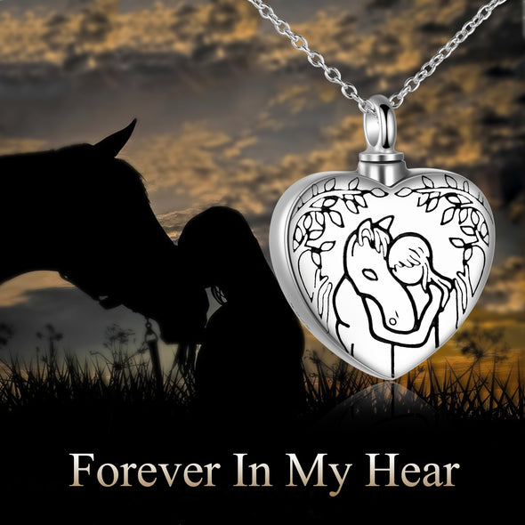 925 Sterling Silver Lovely Animal Heart Urn Necklace, Cremation Jewelry For Ashes - onlyone
