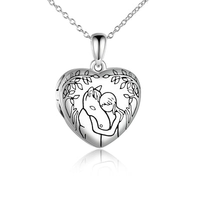 925 Sterling Silver Horse And Girl Photo Heart Locket Necklace That Hold Pictures Gift for Women - onlyone