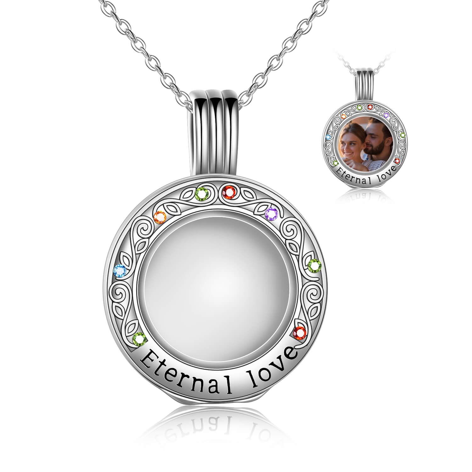 925 Sterling Silver Toughened Glass Photo Locket Pendant Necklace