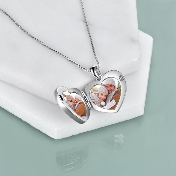 925 Sterling Silver Flower And Butterfly Heart Photo Locket Necklace