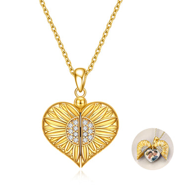 925 Sterling Silver Sunflower Locket Necklace That Holds Pictures Engraved You are My Sunshine Pendant Necklaces Birthday for Her