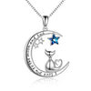 925 Sterling Silver Cat And Moon Necklace