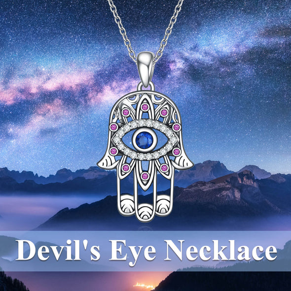 925 Sterling Silver With Cubic Zirconia Hamsa Hand Pendant Necklace