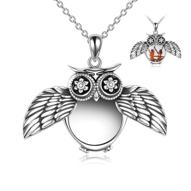 925 Sterling Silver Cute Owl Photo Locket Necklace