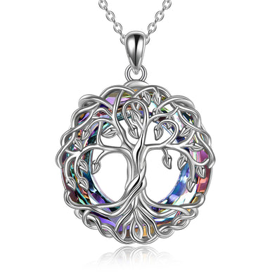 925 Sterling Silver Family Tree Pendant Necklace Tree of Life Necklace Jewelry with Crystal Gifts for Women Teen Girls Birthday Christmas