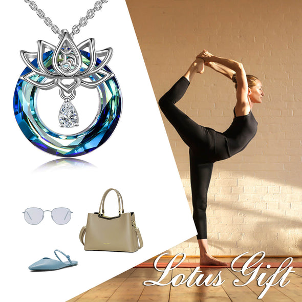 925 Sterling Silver Lotus Flower With Crystal Necklace