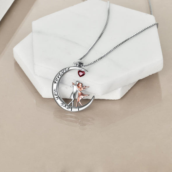 925 Sterling Silver Tango Dancer Crescent Moon Pendant Necklace
