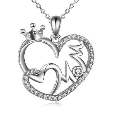 925 Sterling Silver Mom Crown Heart Necklace