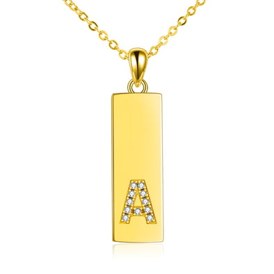 gold zirconia initial A square pendnat necklace