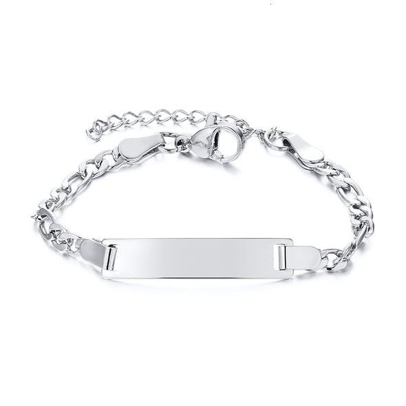 925 Sterling Silver Personalize Baby Name Bracelet Figaro Chain Smooth Bangle Link - onlyone