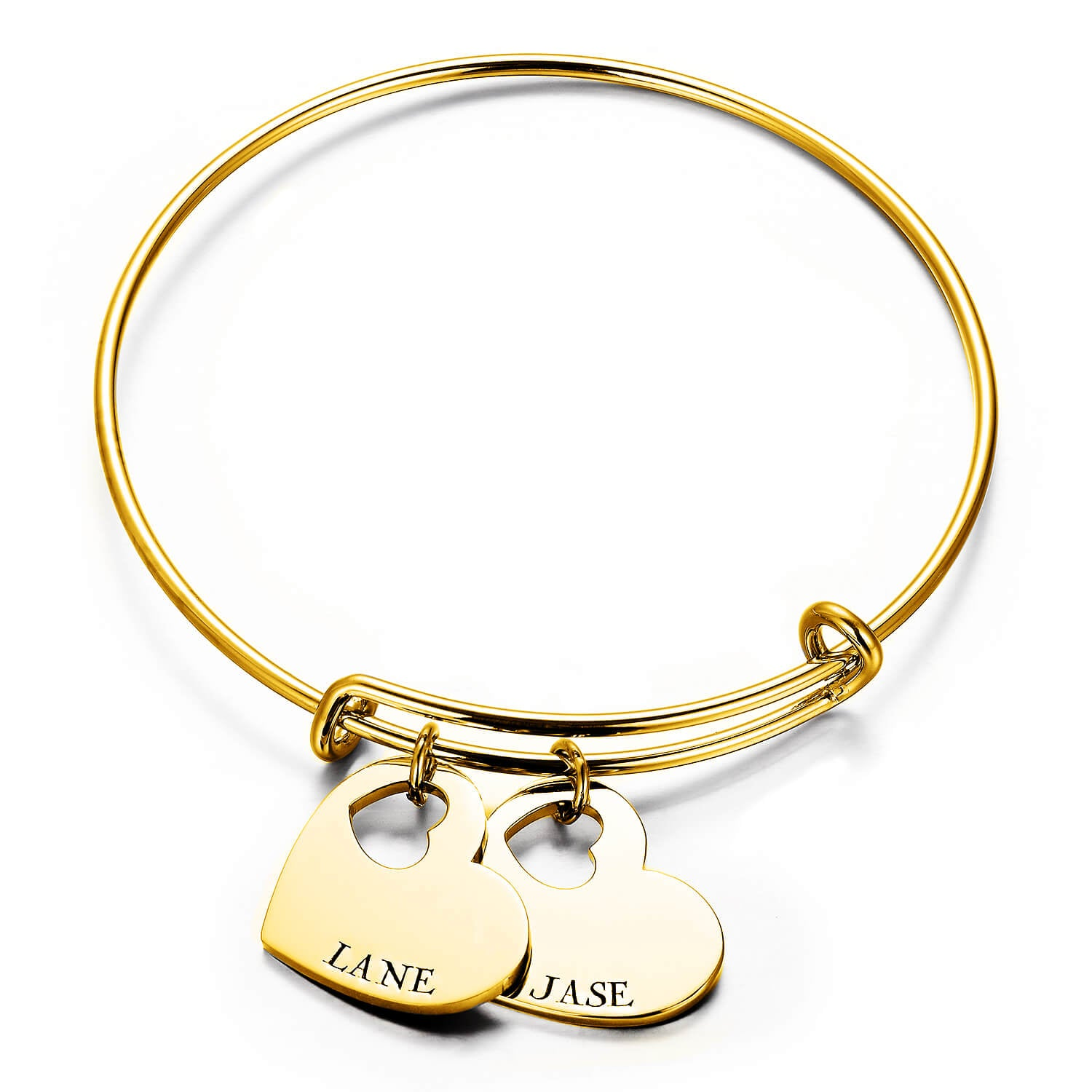 925 Sterling Silver Personalized Double Heart Name Bangle Expandable Love Bracelet - onlyone