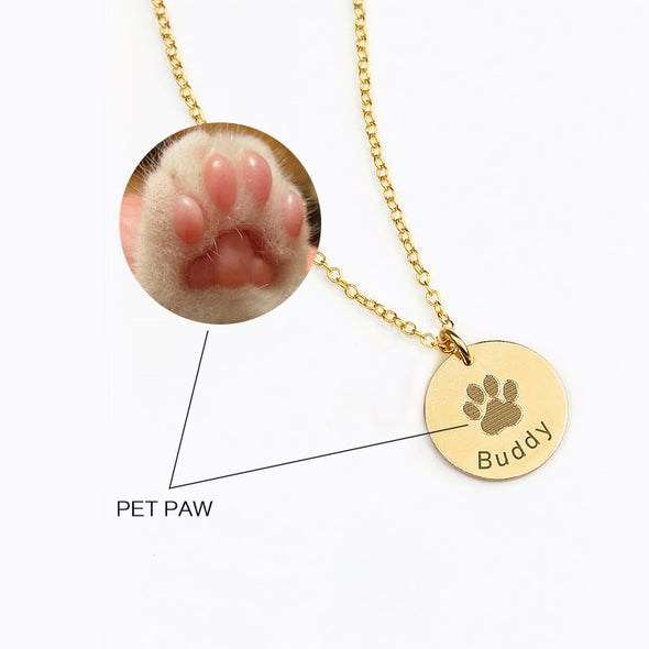 925 Sterling Silver Pet Paw Engraved Necklace Personalized Gift For Pet Lover - onlyone