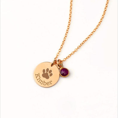 925 Sterling Silver Pet Paw Engraved Necklace With Pet's Birthstone Personalized Gift For Pet Lover - onlyone