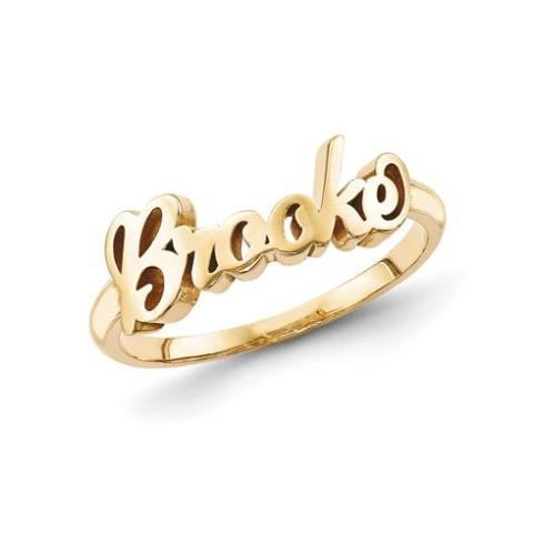 925 Sterling Silver Personalized Script Letters Name Ring Nameplate Ring - onlyone