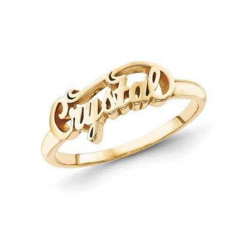 """Crystal"" 10K/14K Gold Personalized Script Letters Name Ring - onlyone"