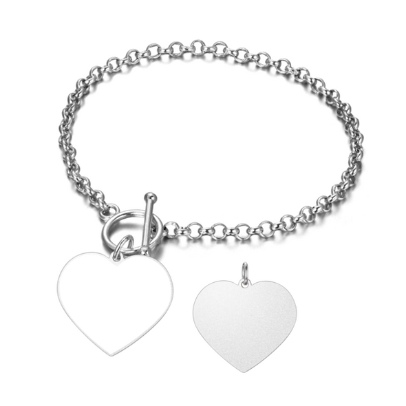 925 Sterling Silver Personalized Heart Engraved Photo Bracelet - onlyone
